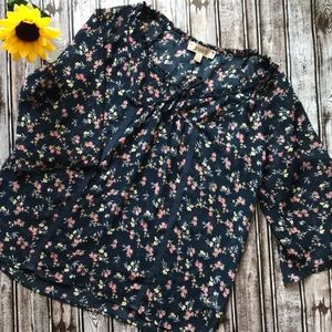 Decree sheer navy floral boho style blouse